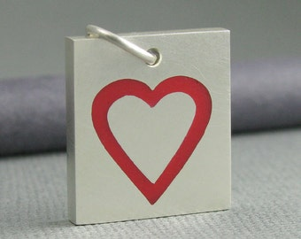solid sterling silver heart pendant. red heart pendant. solid silver heart pendant. sterling silver red heart pendant