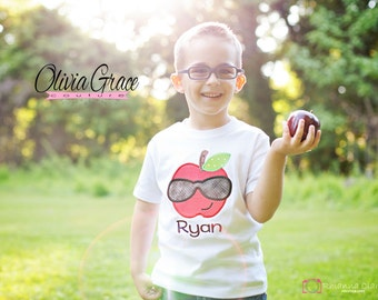 Back to School Shirt, Cool Apple with Sunglasses, Preschool Rocks, Kindergarten Rocks, 1st grade rocks, Back to School Embroidered Shirt