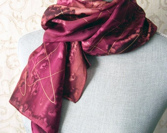 Hand Painted Silk Scarf in Brown and Burgundy with Gold