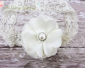 Ivory Headband, Baptism Headband, Satin & Tulle Flower Puff w/ Pearl Lace Headband or Hair Clip, Christening, Baby Child Girls Headband