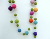 Spring Garland -  felt ball garland moss green and spring flower colors with large felt balls - in blues purples greens pinks  - 6 ft