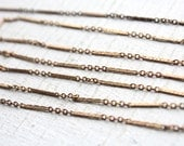 6 feet Vintage 1960s  Rose Gold Color Brass Chain / Thin Woven Bar with Links