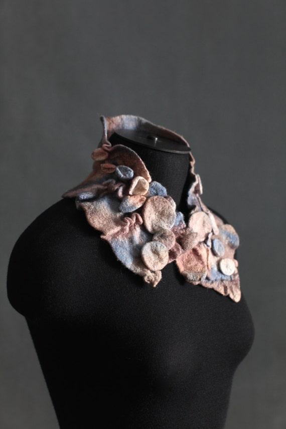 Felted scarf Nuno felt scarf Collar Short Textured Wool Neck warmer OOAK Fashion accessories
