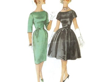 1960s Party Dress Cocktail Dress Pattern Full or Slim Skirt Simplicity 3592 B33 Sz 13 Junior Size