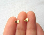 Tiny gold heart studs, brass and sterling silver post earrings.