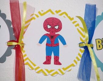 SuperHero Happy Birthday Banner Superhero Party Chevron Pattern