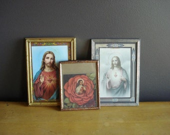 Vintage Metal Frames with Religious Prints - Set of Three Mini Frames with Jesus and St. Theres Catholic Illustrations
