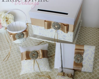 Wedding Set Card Box Guest Book and Pen set Ring Pillow Flower Basket Customizable in your Colors