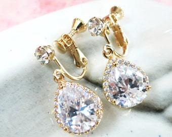 Lelanie - Clip-On luxe cubic zirconia teardrop Earrings, Gifts for her, Gold Bridesmaid Earrings, Bridal Jewelry, Champange Wedding Jewelry