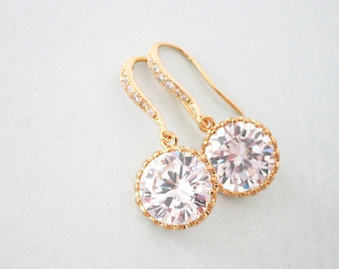 Pamela - Simple Cubic Zirconia drop earrings, diamond earrings, gifts for her, bridal jewelry, bridesmaid earrings, Champagne gold wedding