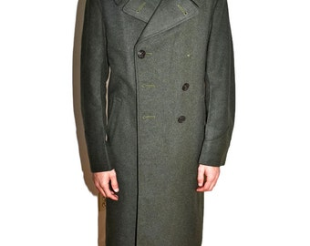 WW2 OVERCOAT 1940s Vintage Antique 1942 1943 Green Wool 40s Military Mens Medium M 40 Make an Offer