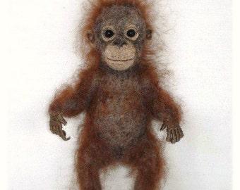Needle Felted Baby Orangutan