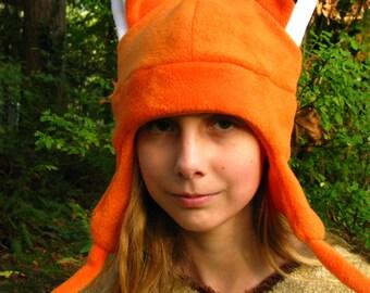 Orange Fox Hat - Aviator Style Naruto Ear Flap Fleece by Ningen Headwear