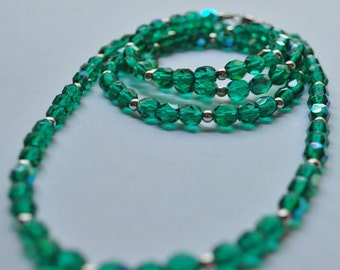 Green Crystal and Silver Beaded Necklace