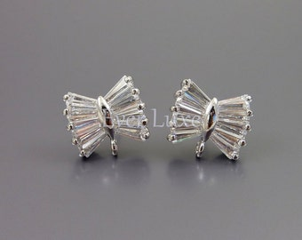 2 CZ cubic zirconia ribbon bow crystal earrings, wedding / bridal earrings, jewelry supplies, findings 1767-BR (bright silver, 2 pieces)