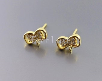 4 tiny robbon bow CZ / Cubic Zirconia stud earrings, earrings, jewelry supplies, bridal / wedding earrings 965-BG (bright gold, 4 pieces)