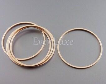 4 plain 30mm circle pendants, modern round connectors, jewelry findings supplies, hoop pendants 997-MRG-30 (matte rose gold, 30mm, 4 pieces)