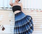 Vintage Woolen pleated school teacher skirt- over the knee- black and blue