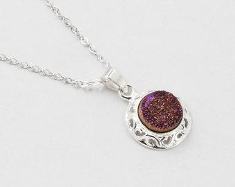 Druzy Necklace Purple Titanium Druzy Quartz Gemstone Filigree Silver pendant necklace Statement Necklace jewelry Gift Steampunk Nation 2513