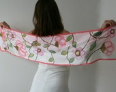 Women scarf, painted silk scarf- white scarf (pink purple green brown colors, floral)-silk satin scarf-white scarf-pink scarf, hand painted
