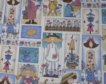 "Quilt Fabric~""Garden Gals"" by M M Fab Inc.~Multi-Color Patchwork~Cotton Fabric~Spring~By the Yard"