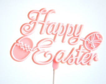 Easter Cake Topper in Pink Happy Easter Sign
