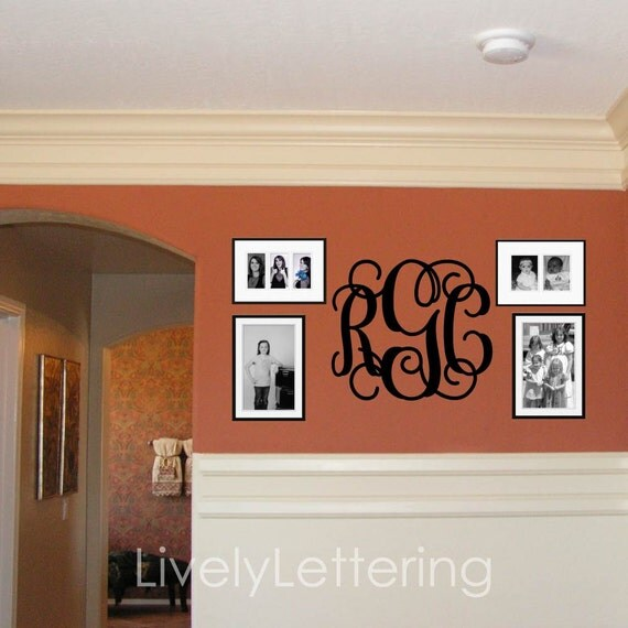 18x21 Monogram wall decal, 3 letter wall decal, Bedroom vinyl lettering, modern and popular wall decals (W00931)