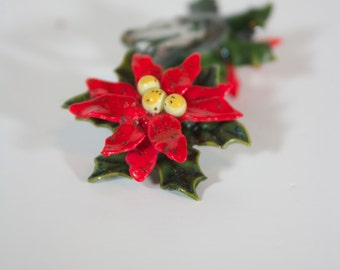 Vintage Lucite Poinsettia Flower Clip On Earrings- Colorful: Red, Green, & Yellow, Gold