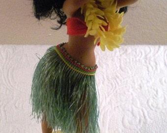 Musical Vintage Hula Girl Souvenir Grass Skirt Hula Dancer Figurine