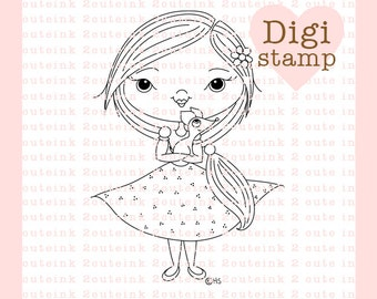 Heidi and Cosmo Digital Stamp for Card Making, Paper Crafts, Scrapbooking, Hand Embroidery, Invitations, Stickers, Cookie Decorating