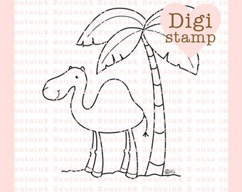 camel with palm tree digital stamp for card making paper crafts scrapbooking hand