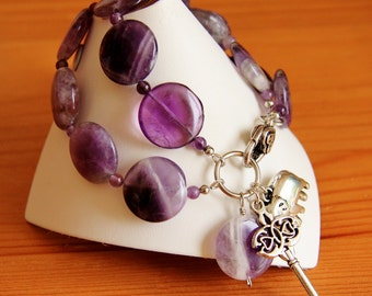 Amethyst bracelet, big bold chunky bracelet, natural stone jewelry, purple bracelet, amethyst jewelry, gemstone jewelry, statement bracelet