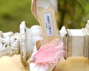 Pale Pink Pastels Shoe Clips. Peacock & Rhinestone Gem, Elegant Big Day, Couture Statement, Bride Bridal Bridesmaid, Breast Cancer Awareness