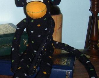 Yellow and Navy Polka Dot Sock Monkey