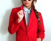 Vintage 70s Blazer ..  1970s  Red Corduroy Cropped Jacket ..  Size Small to Medium