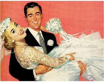 vintage wedding bride and groom illustration digital download
