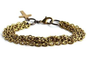 Multistrand Bracelet, Multi Chain Bracelet, Gold Multi-Chain Bracelet, Vintage Brass Chain Bracelet