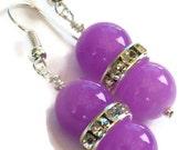 Purple Crystal Rhinestone Earrings, Gifts for Women Under 20, Wedding Jewelry, Bridesmaids, Birthday, Christmas, Black Friday, Cyber Monday