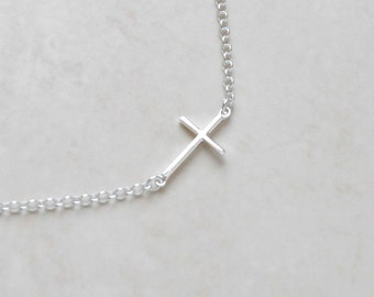 Sideways cross necklace, sterling silver sideway cross, tiny silver cross, modern christian jewelry, little girl gift, layering - Anjelica