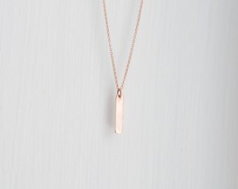 Rose gold bar necklace, mini bar, rose gold pendant necklace, pink, simple, vertical bar, modern, minimal, layering jewelry - Lucia mini