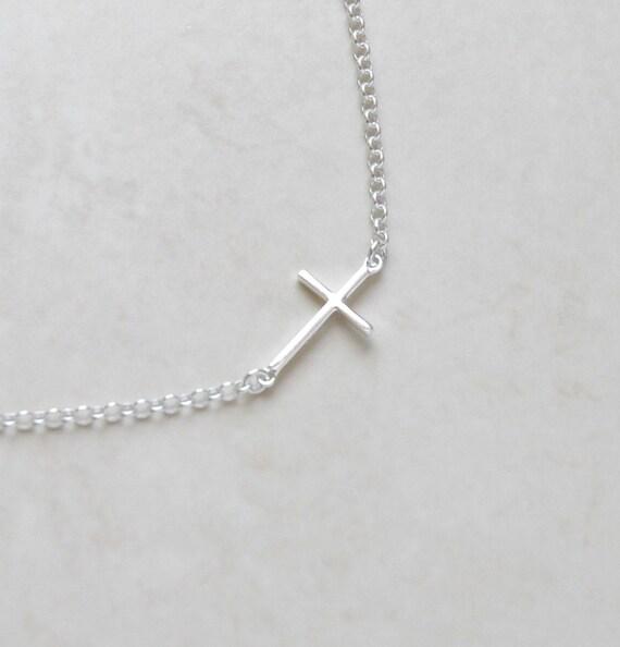 Sideways cross necklace, sterling silver sideway cross, tiny silver cross, modern christian jewelry, little girl gift, layering - Anjelica