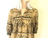ARC Vintage Womens Top, Aztec Print, Vintage 80s, Short Sleeve, Camel Brown (S-M)