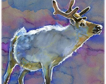 Caribou Watercolor Painting Print, Artist-Signed