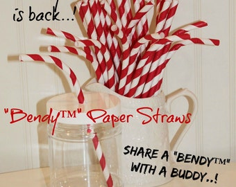 Paper Straws, 75 Bendy™ Red Striped Paper Straws, Fourth Of July, Carnival, Mason Jar Sippers, Bendable Paper Straw, Birthday, Holiday Party