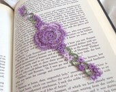 Tatted Rose Bookmark , Variegated Lilac Lace - Rosa Version 1