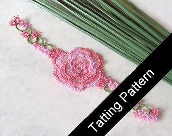 PDF Tatting Pattern Rosa Rose Bookmark - Intermediate - Instant Download