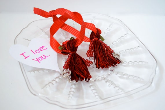 Engagement Gift: Matching Red Beaded Tassels with Ribbon Ties