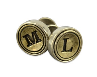 Personalized Initial Cuff Links - Initial Letter Cufflinks - Grooms Gift All letters avaliable, Customized letters, customizable jewelry