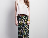 Desert Floral Maxi Skirt in Blue Mint, Pale Pink and Yellow Ochre on Black