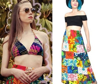 50% OFF SALE 1960s Psychedelic Maxi Skirt Hippie Patchwork Skirt Festival Hippie Boho Granny Quilt Colorful Floral Print Long Skirt (S/M/L)